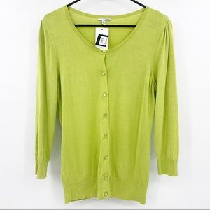 NWT Halogen Lime Green Button Cardigan Sweater